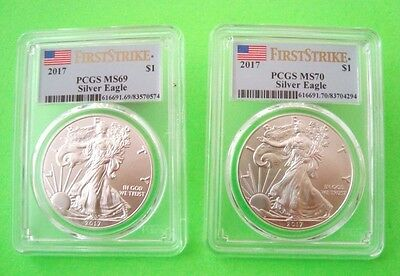 Two 2017 SILVER EAGLES 1 = MS69 + 1 = MS70 FIRST STRIKE - BOTH 1-oz FLAG LABELS