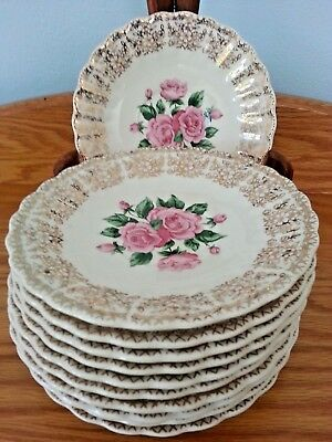 Antique Sebring China Bouquet Iks518 22 Kt Gold Warranted Set Of 10 Saucers.