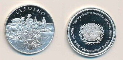 Lesotho: .925 Silver Proof Medal (32mm), UN Countries. 12.9g
