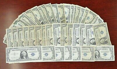 Lot of 50 Assorted US $1 Blue Seal Silver Certificate Notes [03DUD]