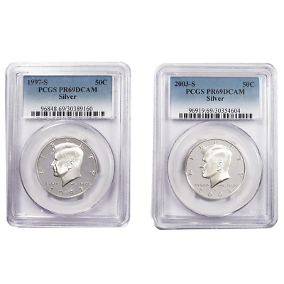 Lot of 2- 1997-S & 2003-S 50c Silver Kennedy Half Dollar PCGS PR69DCAM