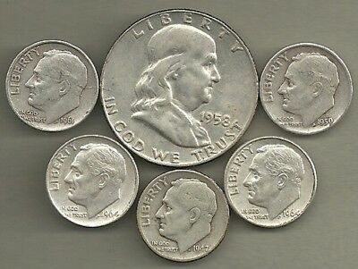 Franklin Half Dollar & Roosevelt Dimes- 90% Silver- US Coin Lot - 6 Coins #3955