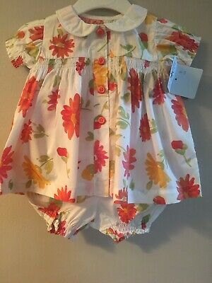 Abella 2 Piece Summer Baby Dress and Knickers NEW 0-3 Months Soft Floral