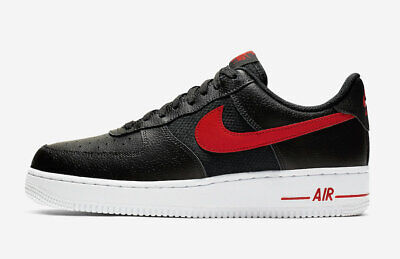 NIKE AIR FORCE 1 One 07 LV8 Low Black Red White Trainers 6 7