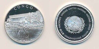 Congo:  .925 Silver Proof Medal (32mm), UN Countries. 12.9g