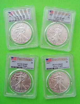 Four 2017 AMERICAN SILVER EAGLE ALL PCGS MS69 FIRST STRIKE FLAG LABEL 1oz Coins