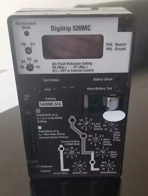 Eaton Cutler Hammer Digitrip 520Mc Cat. No. 5Armlsig Trip Unit Circuit Breaker