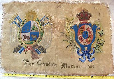 💕 Antique SPAIN Sampler 1885 Coat of Arms Needlepoint Beads Candida Mariño