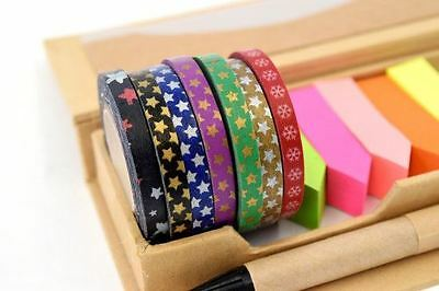 New 5rolls x 5mm Journal Gift Wrap Craft Tape Gold Silver Red Stars Mix AU$1 ea
