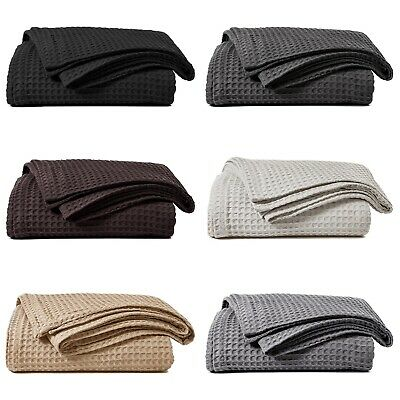 Luxury 100% Cotton Honeycomb Waffle Effect Sofa Bed Chair Blanket Throw
