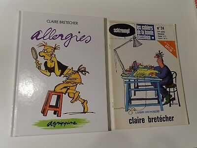 LOT de 2 CLAIRE BRETECHER cahier de la BD 24 + Allergies ( AGRIPPINE 7 EO )