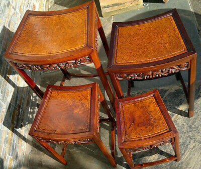 Antique Chinese Carved Hardwood Quartetto Nest of Tables Burr Wood Tops