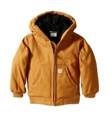 NWT Toddler Boy/'s CARHARTT Brown Active Duck Canvas Quilt Lined Jacket 12 18 24M