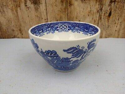 Vintage Wood & Sons Woods Ware Blue & White  Willow Pattern Sugar Cube Bowl