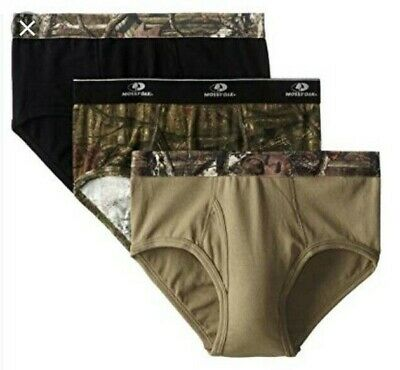 Mossy Oak Men's Camo Briefs Size LARGE 36-38 Camouflage Moisture Wicking 3 Pair