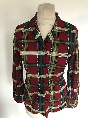 VINTAGE 70's RED & GREEN CHECK DAGGER COLLAR FITTED BLOUSE SHIRT UK 10 SMALL