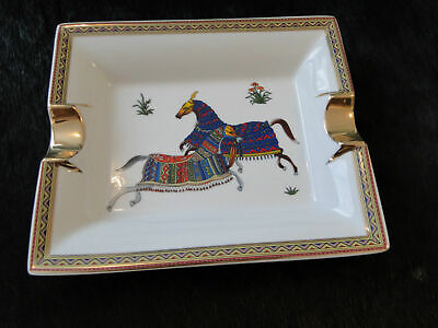 Hermes Cigar Ashtray 2 Pouncing Horses Made In France Excellent Condition In Box