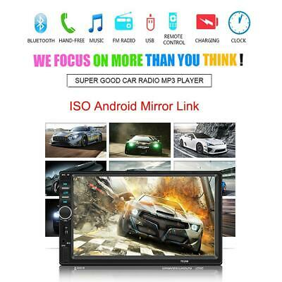 """2 Din 7"""" Touch Screen Bluetooth Handsfree Car Stereo Radio FM USB AUX MP5 Player"""