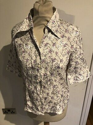 Vintage 80's White Floral New Wave Blouse Small 10