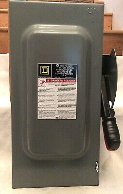 Square D Disconnect 60 amp 3pole 600v Heavy Duty Safety Switch HU362 NEMA 1 Encl