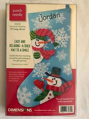 Dimensions Punch Needle Snowmen Stocking Kit 83239