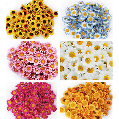 100Pcs Artificial Gerbera Daisy Silk Flowers Heads For DIY Wedding Party TY