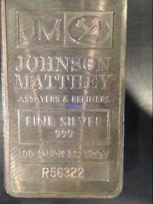 Johnson Matthey 100 Oz Silver Bar Has Box With Matching Numbers (Eze029557)