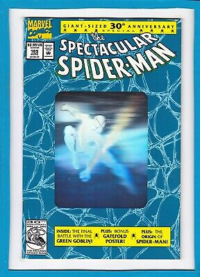 Spectacular Spider-Man #189_June 1992_Near Mint Minus_Giant_Vess Poster Intact!