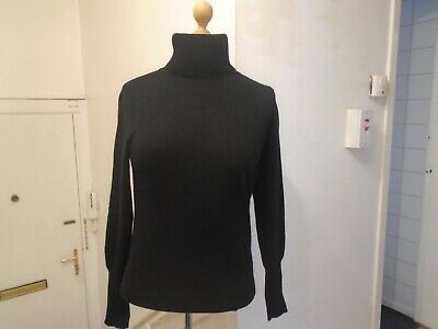 Ladies Smart Black Jaeger 100% Cashmere Roll Neck Jumper Med Uk 12 Eu 40
