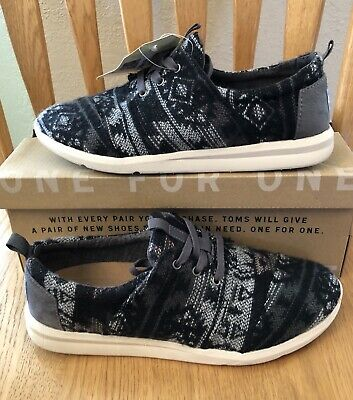 d278aa8c7a8 TOMS Del Rey Grey Black White Wool Tribal. Size 8.5. Lace-up Slip
