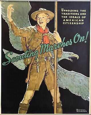 Vintage 1940s ? Norman Rockwell SCOUTING MARCHES ON Boy Scout American  Poster
