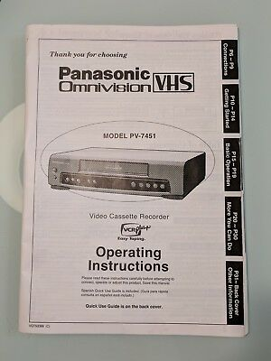 Panasonic Video Cassette Recorder Original Operating Instructions Manual Pv-7451
