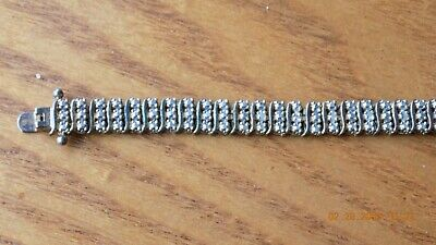 Vintage Gold Over Sterling Silver Real Diamonds Ladies Tennis Bracelet 3 row RSE