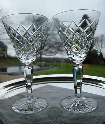 "Waterford Irish Crystal.. Tyrone Pattern.. Two 6 1/2"" Claret Glasses.. Signed"