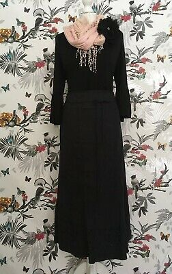 *M&S* Boho  Black Suedette Floral Embroidered Maxi skirt Size 14  Exc. Cond
