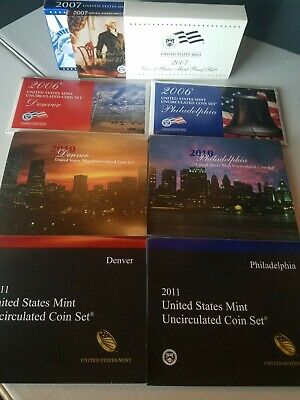 2006, 2010, 2011 US MINT uncirculated COIN SETS 2007 PROOF Set (LOT S)