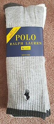 Polo Ralph Lauren Socks 4 Pairs Sport Casual Crew Size 6 -12 BNWT