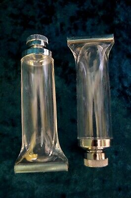 Vintage 80's Post Modern Clear Glass Salt and Pepper Shakers Tooth Paste Figural