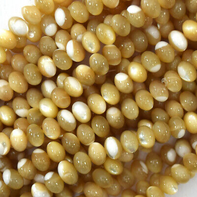 """7mm natural mother of pearl mop rondelle beads 15.5"""" strand"""