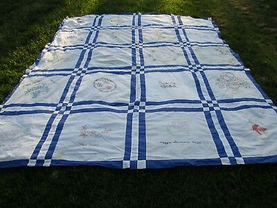 Memory, Signature Quilt Top With Embroidered 86 by 104 inches