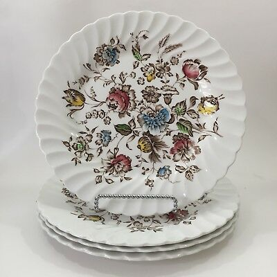 Johnson Brothers China Staffordshire Bouquet Dinner Plates Set of 4 Flowers