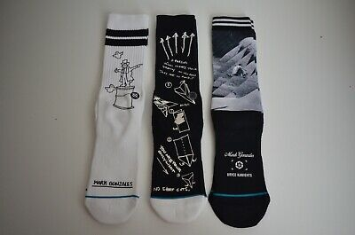 Men's Stance Mark Gonzales Crew Cut White/ Black Socks Sz. LARGE, LG (9-12)
