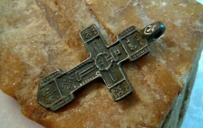 RARE ANTIQUE 15-17th CENTURY ORTHODOX SWORD-SHAPED CROSS with CROWN OF THORNS
