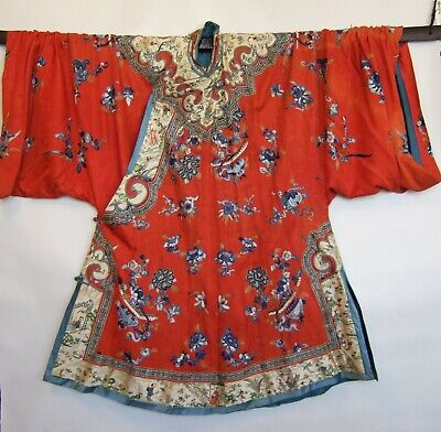 Antique 1800s Chinese Mandarin Silk Embroidered Coat Robe Figures Butterflies
