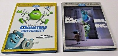 Lot of 2 Monsters Inc. & University 3D w/ Slip Cover (Blu Ray, 2013) NO DVD's