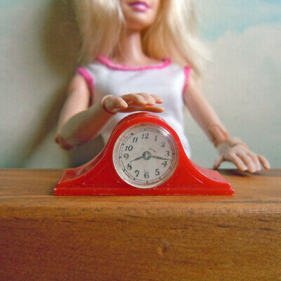 Vintage Barbie Doll Size Accessories Red Renwal Clock Dollhouse Miniature