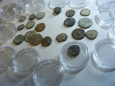 Lot of 18  Ancient Roman etc. SMALL Coins, used condition.. & clear capsules.(W)