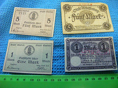 Germany...Lot of 4 banknotes 1918 Higher Values Emergency money.