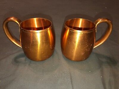 Vintage Solid Copper Moscow Mule Cups 2 Mugs West Bend Aluminum Co
