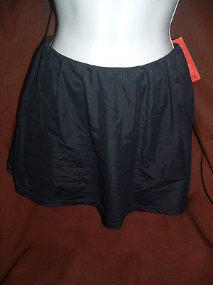 SPANX 1357 RUCHED SKIRTINI SKIRTED SWIM BOTTOMS sz 8 BLACK NWT